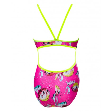 Girls' Reel It In Foil Funnies Flutterback Swimsuit  color