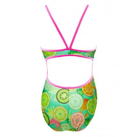 Girls' Coolada Foil Funnies Flutterback Swimsuit  color