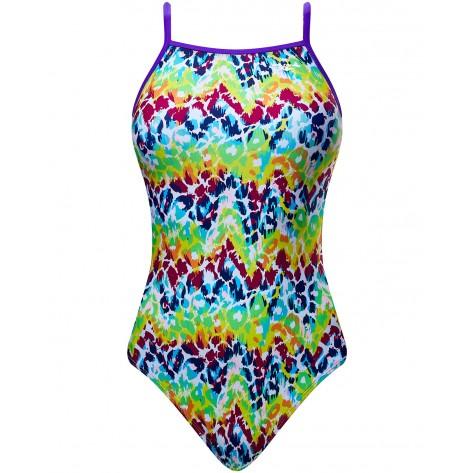 Girls' Rainbow Roar Funnies Flutterback Swimsuit  color