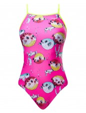 Girls' Reel It In Foil Funnies Flutterback Swimsuit