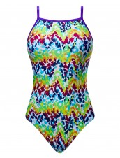 Girls' Rainbow Roar Non Foil Funnies Flutterback Swimsuit